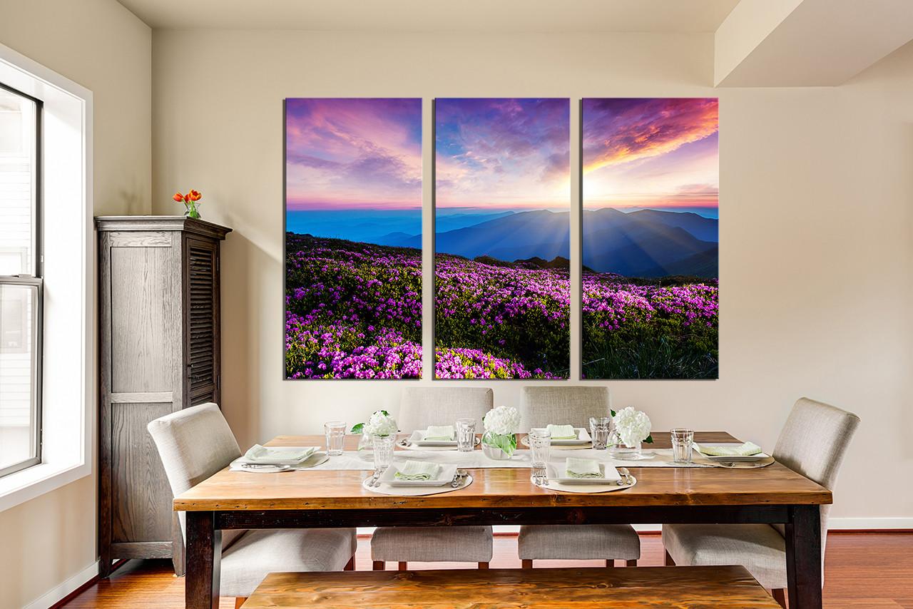 3 Piece Huge Canvas Art, Dining Room Photo Canvas, Landscape Wall Decor,  Purple