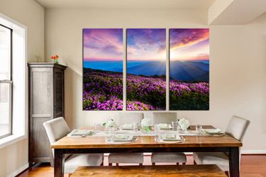 3 piece huge canvas art, dining room photo canvas, landscape wall decor, purple art, sunset canvas wall art, floral huge pictures