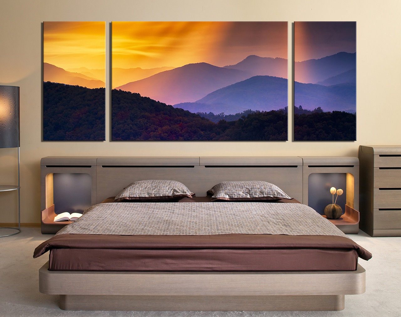Panoramic Wall Art 3 piece wall art, landscape large pictures, orange multi panel