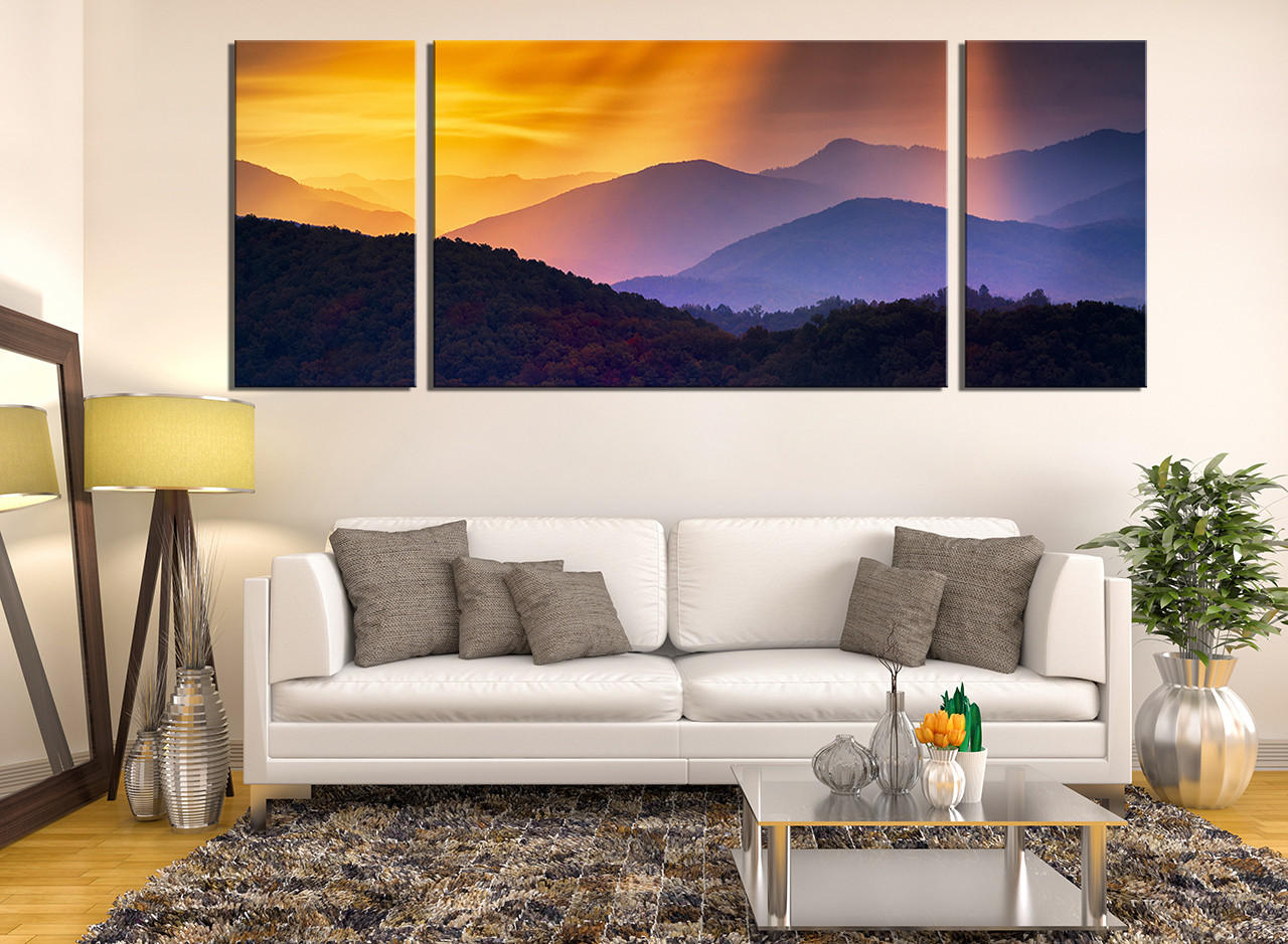 3 Piece Huge Canvas Art, Living Room Large Canvas, Orange Canvas Print,  Mountain Part 58