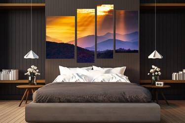 4 piece art, bedroom canvas photography, landscape huge canvas art, orange group canvas, mountain large pictures