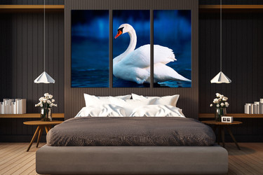 3 piece multi panel canvas, bedroom huge pictures, swan canvas wall art, wildlife canvas photography