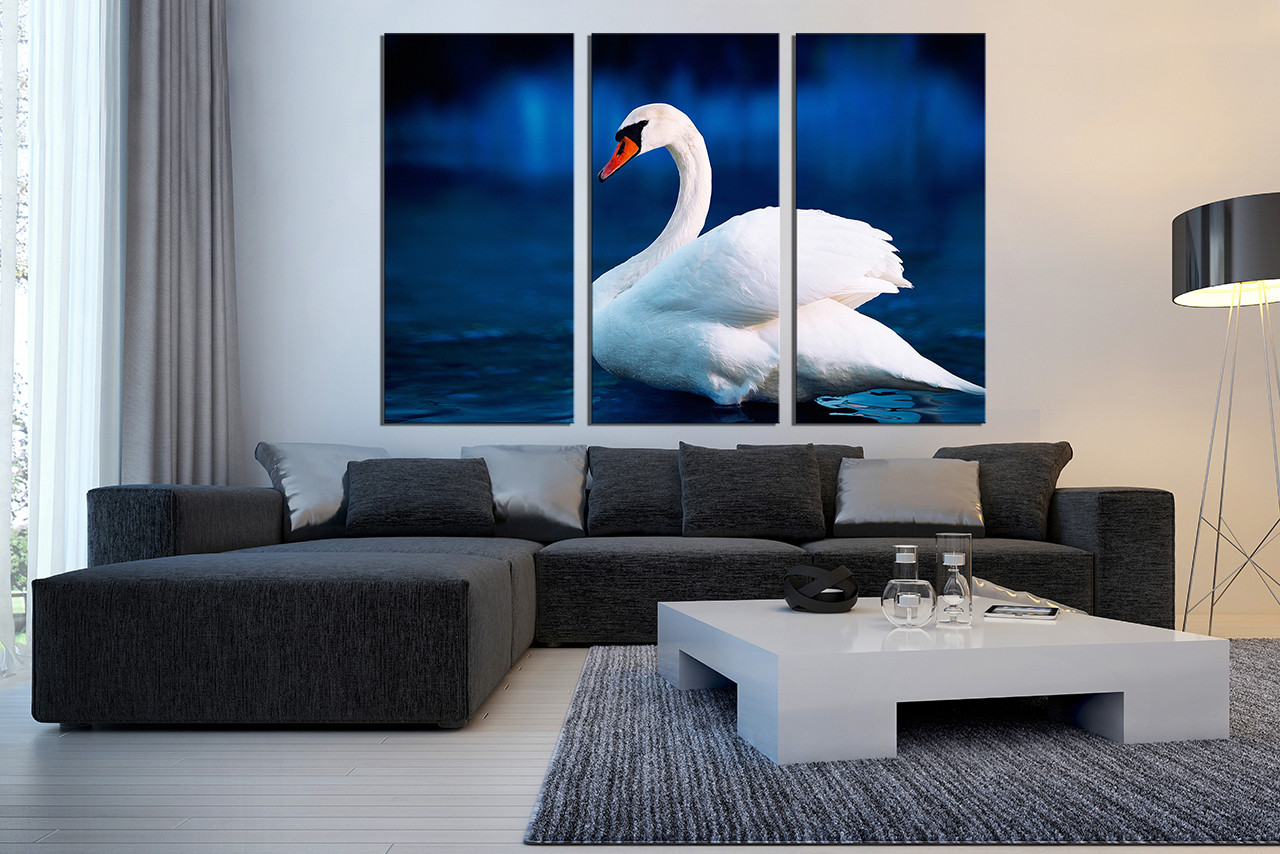 3 Piece Canvas Photography, Swan Canvas Print, Wildlife Group Canvas, Bird  Large Pictures · 3 Piece Canvas Wall Art ...