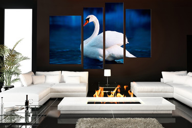 4 piece large pictures, living room canvas print, swan art, wildlife multi panel art, swan artwork