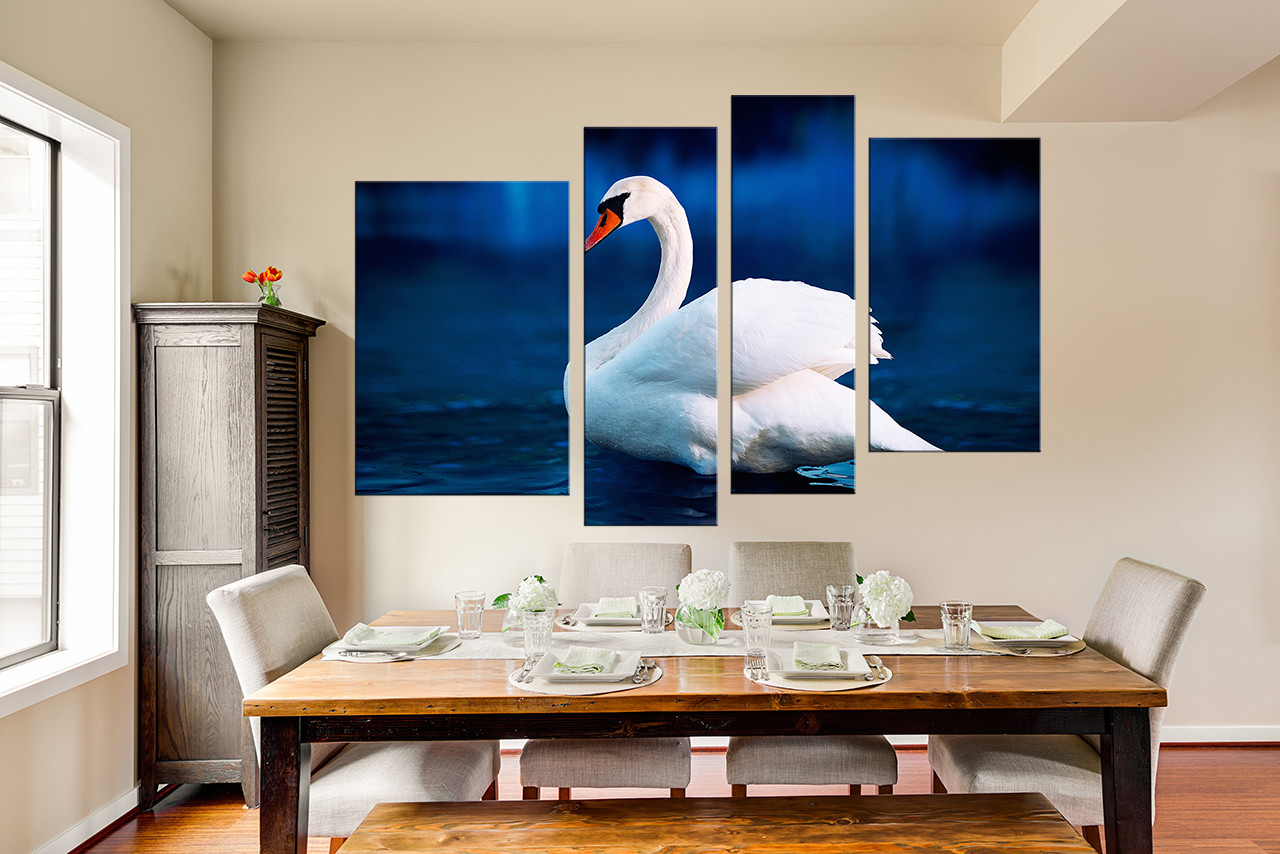 4 Piece Photo Canvas, Dining Room Canvas Photography, Swan Huge Canvas Art,  Wildlife