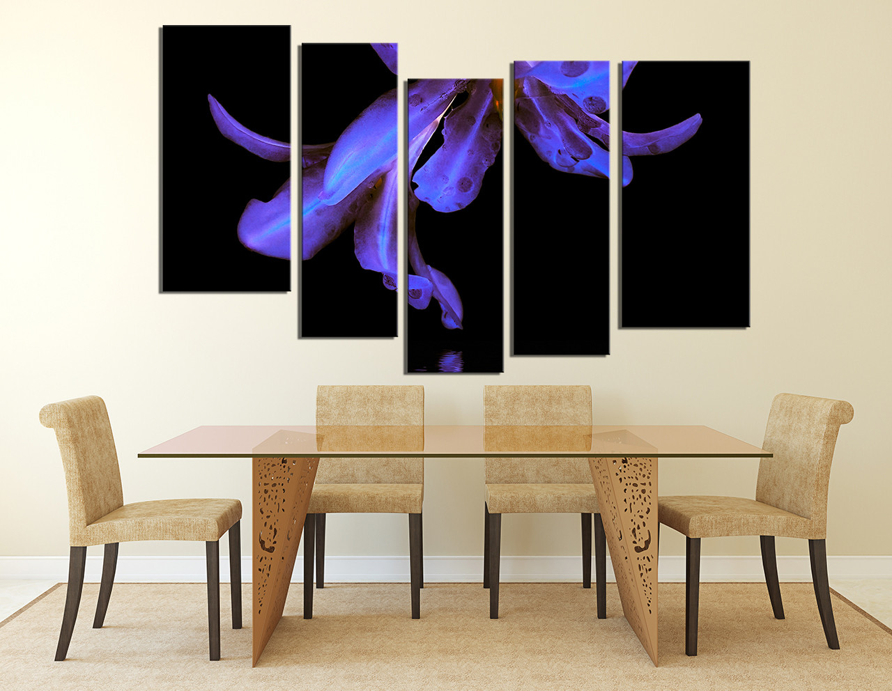 5 piece canvas photography purple flower huge pictures for Purple dining room wall art