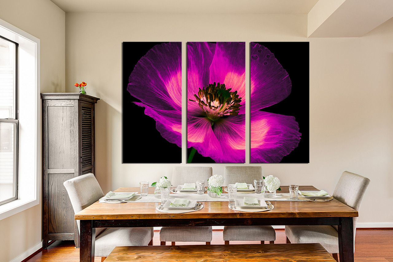 Multi Piece Canvas Wall Art 3 piece canvas photography, purple flower canvas wall art, floral