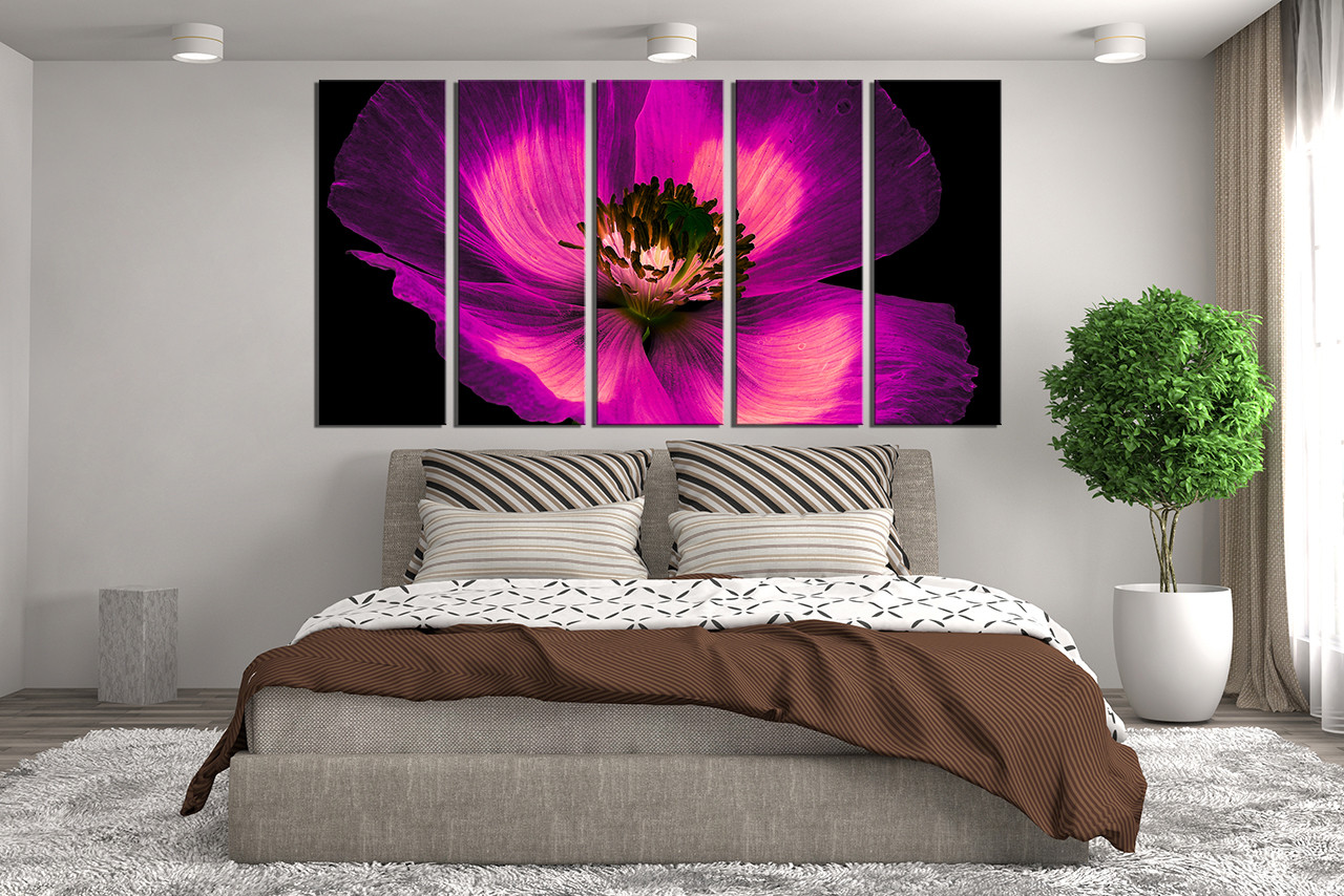 5 Piece Canvas Wall Art, Floral Wall Art, Bedroom Wall Decor, Purple Canvas