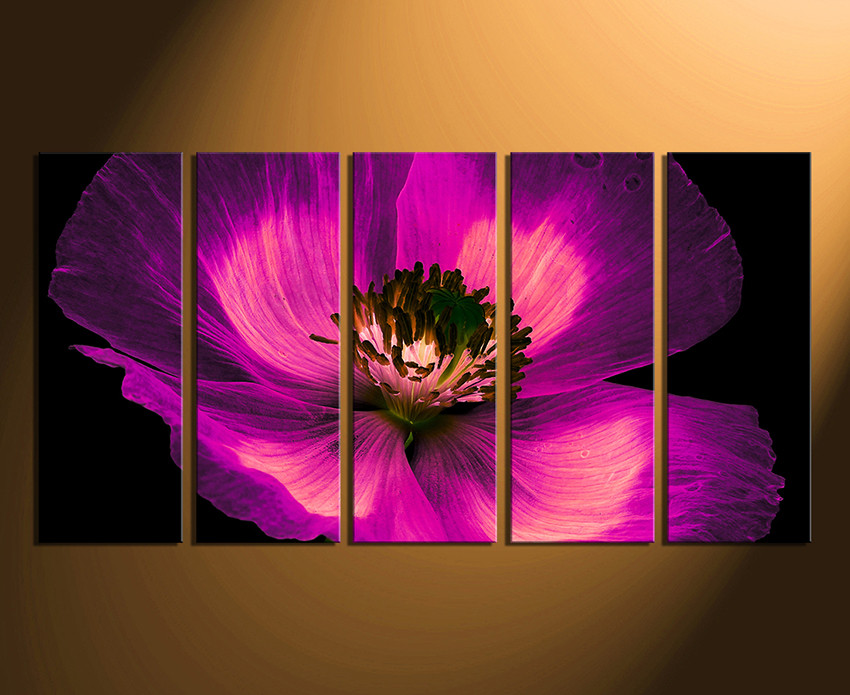 Purple Canvas Wall Art 5 piece multi panel canvas, purple flower canvas photography