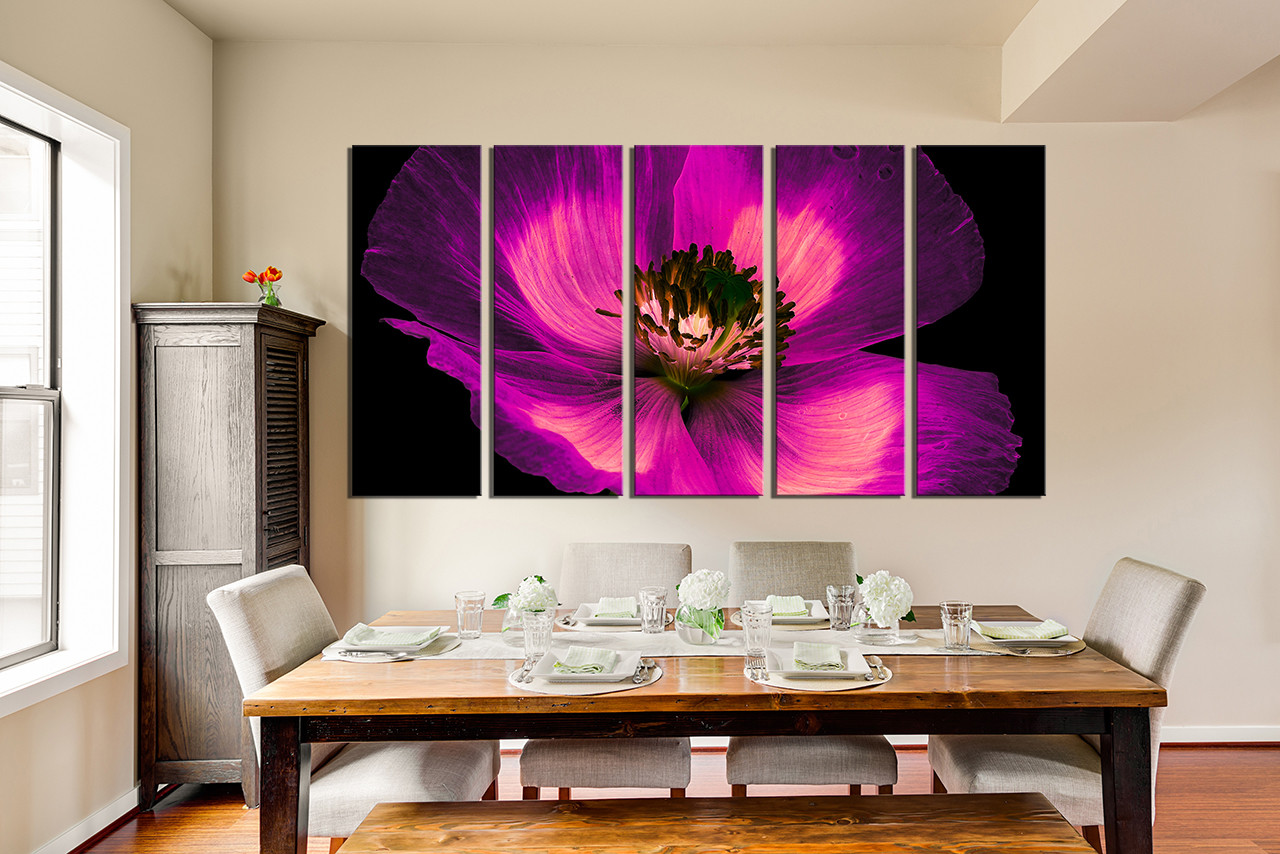 Flower Canvas Wall Art 5 piece multi panel canvas, purple flower canvas photography