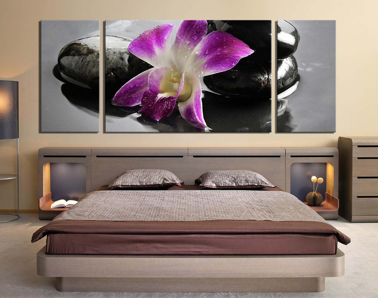 Bon 3 Piece Canvas Wall Art, Bedroom Wall Art, Orchid Wall Decor, Purple Huge