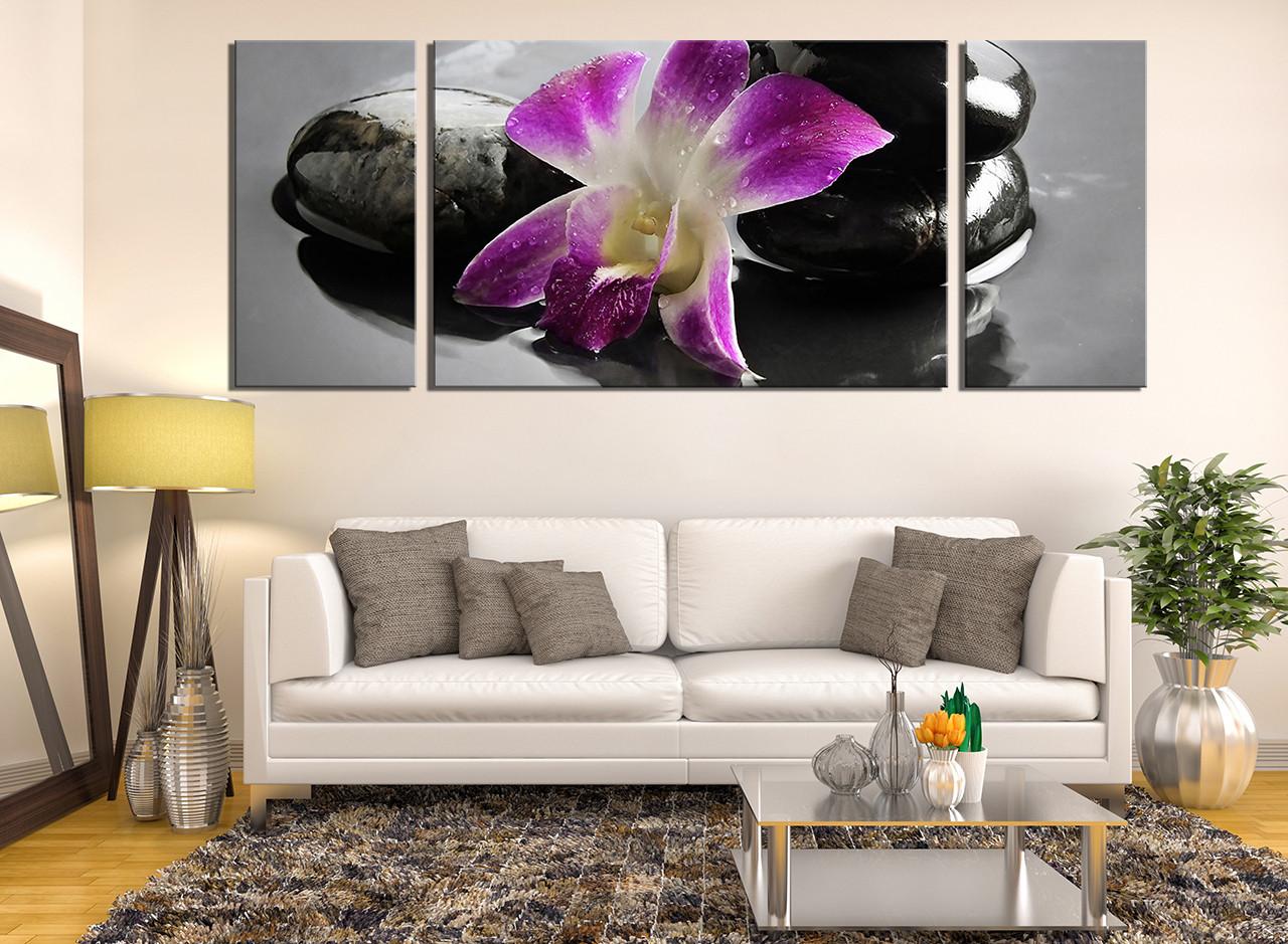 3 piece canvas art print floral large canvas living room group canvas purple & 3 Piece Artwork Purple Flower Multi Panel Art Orchids Canvas Wall ...