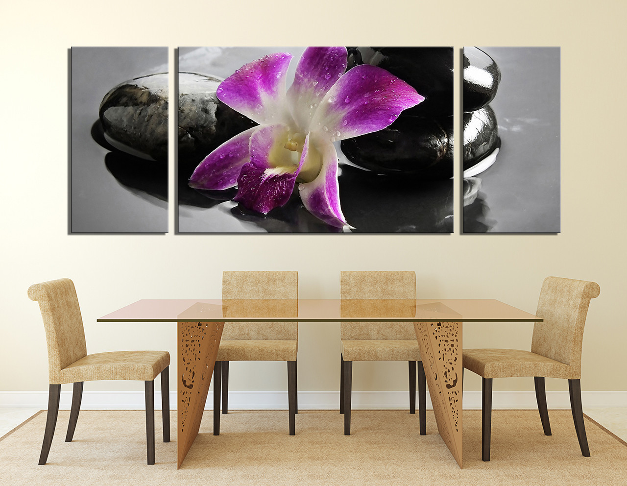 3 piece artwork purple flower multi panel art orchids for Purple dining room wall art