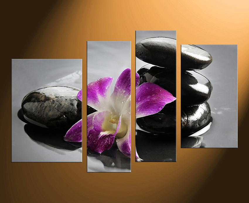 4 Piece Huge Canvas Print, Floral Huge Canvas Art, Orchid Canvas  Photography, Flower