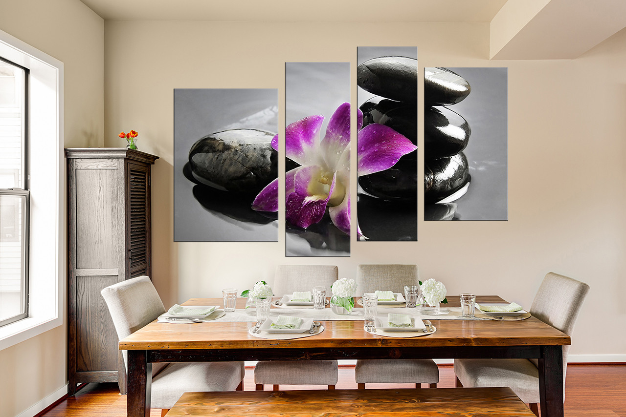 4 piece large pictures floral huge canvas art purple flower 4 piece large pictures dining room huge pictures orchid canvas wall art floral amipublicfo Image collections