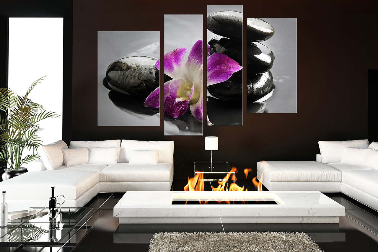 Fantastic 4 Piece Large Pictures, Floral Huge Canvas Art, Purple Flower  KL64