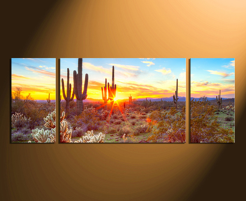 3 Piece Canvas Art Prints, Scenery Huge Pictures, Saguaro Cactus ...