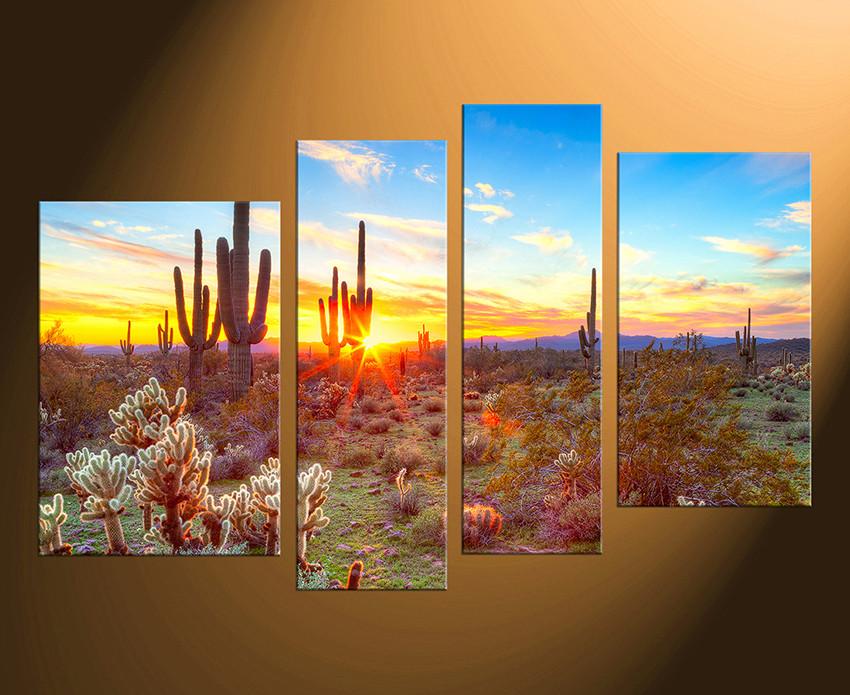 4 piece canvas wall art home decor scenery huge pictures saguaro cactus photo