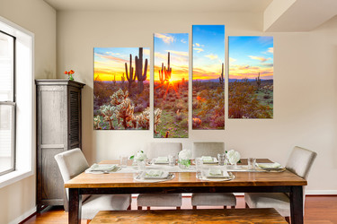 4 piece canvas print, dining room multi panel canvas, scenery photo canvas, saguaro cactus multi panel art, sunrise canvas art prints, nature large pictures