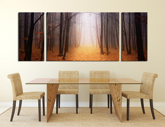 3 piece canvas wall art, dining room wall decor, scenery canvas print, orange multi panel canvas, autumn wall art, panoramic canvas photography