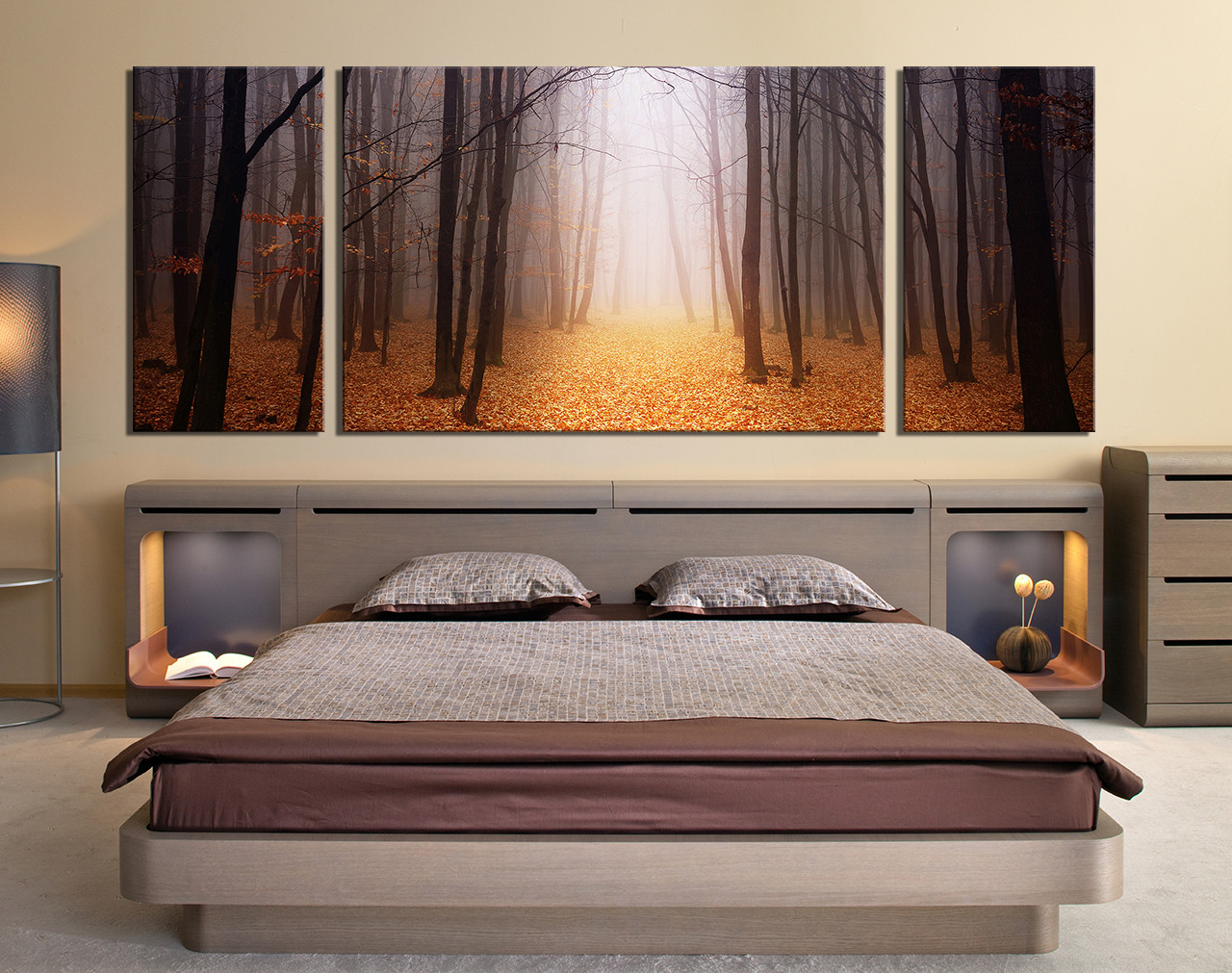 Multi Panel Canvas Wall Art 3 piece large pictures, scenery photo canvas, orange multi panel