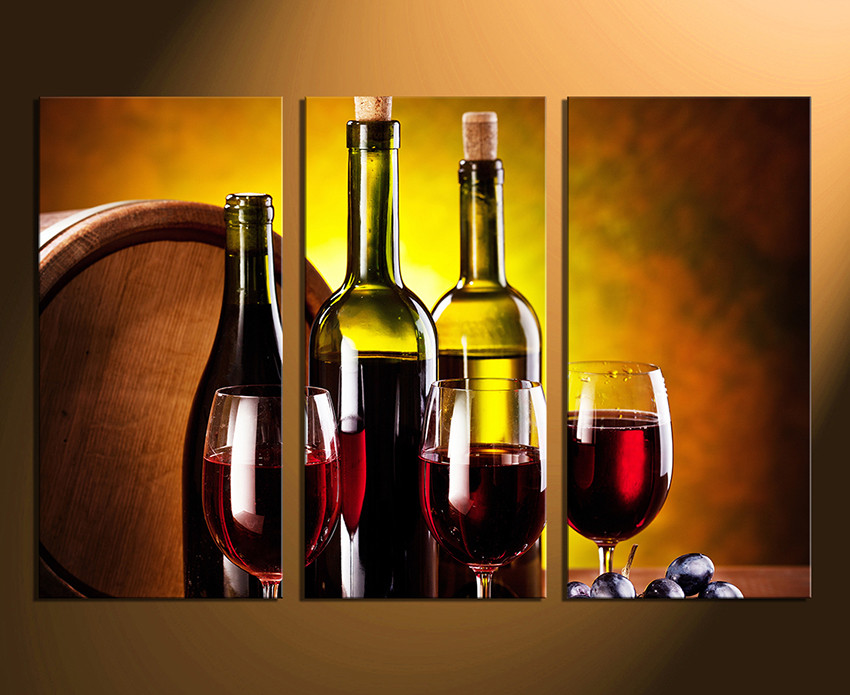 3 Piece Canvas Wall Art, Wine Huge Canvas Print, Red Canvas ...
