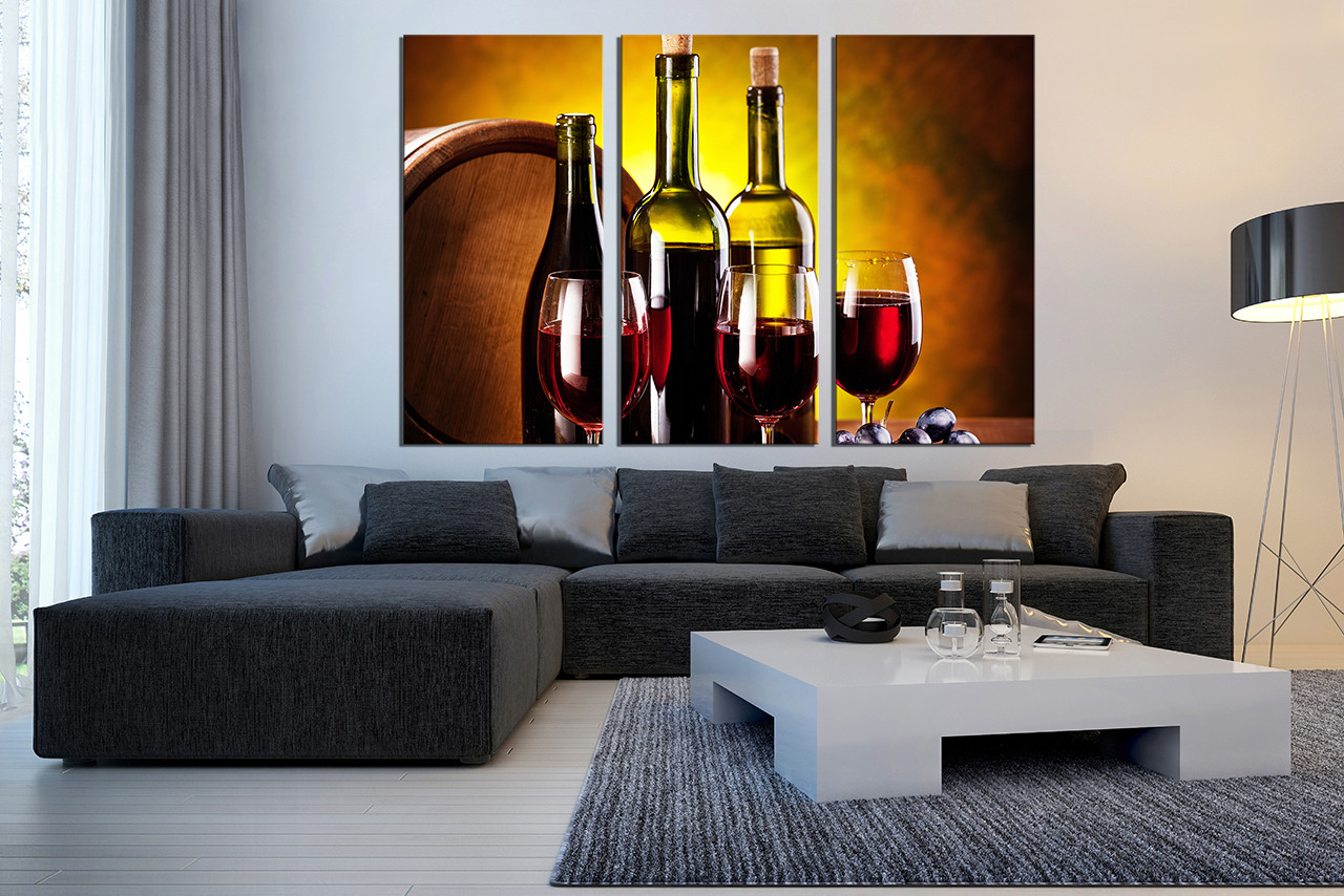 3 Piece Canvas Wall Art, Wine Huge Canvas Print, Red