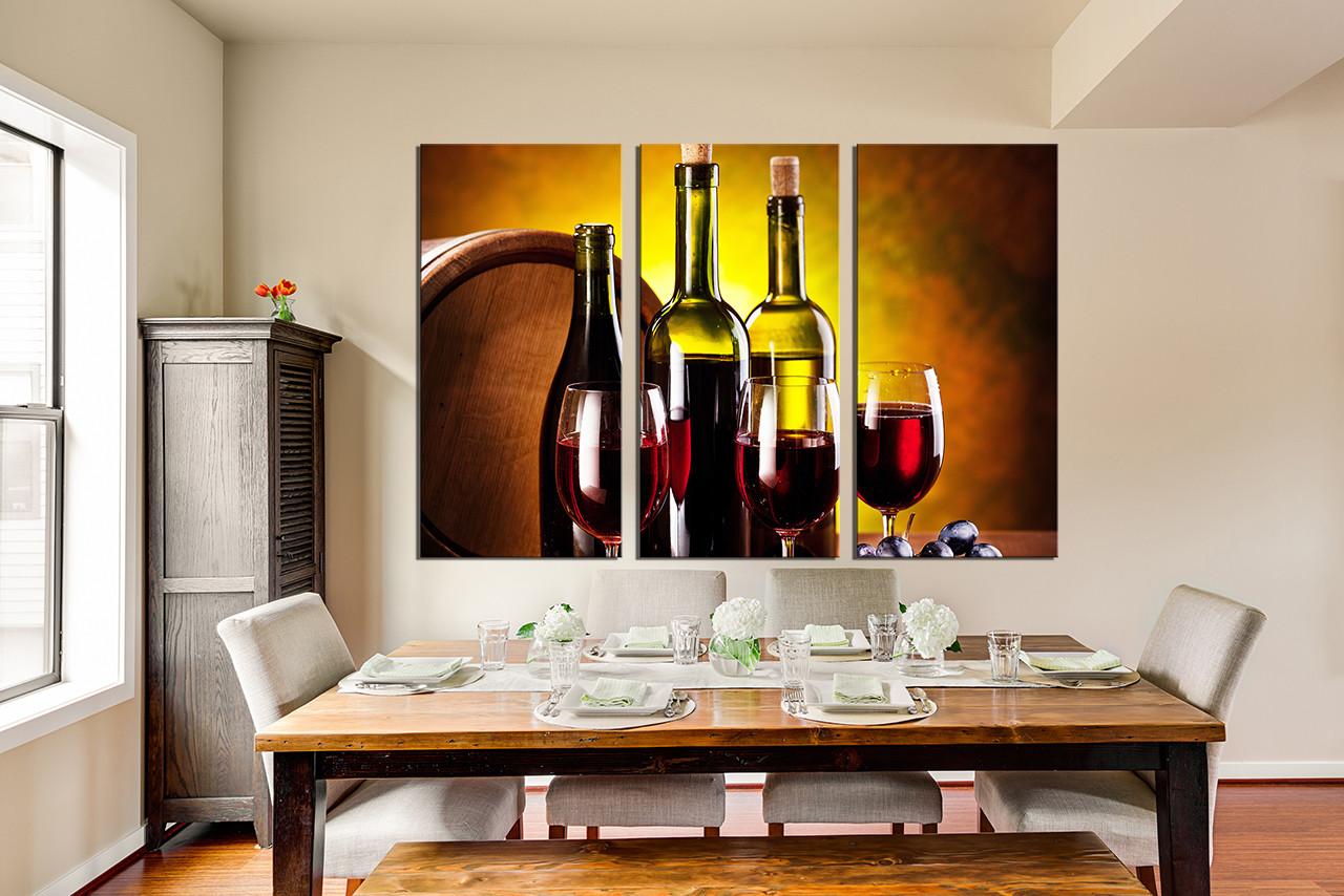 3 Piece Canvas Art Prints, Dining Room Decor, Wine Canvas Print, Wine Wall Part 79