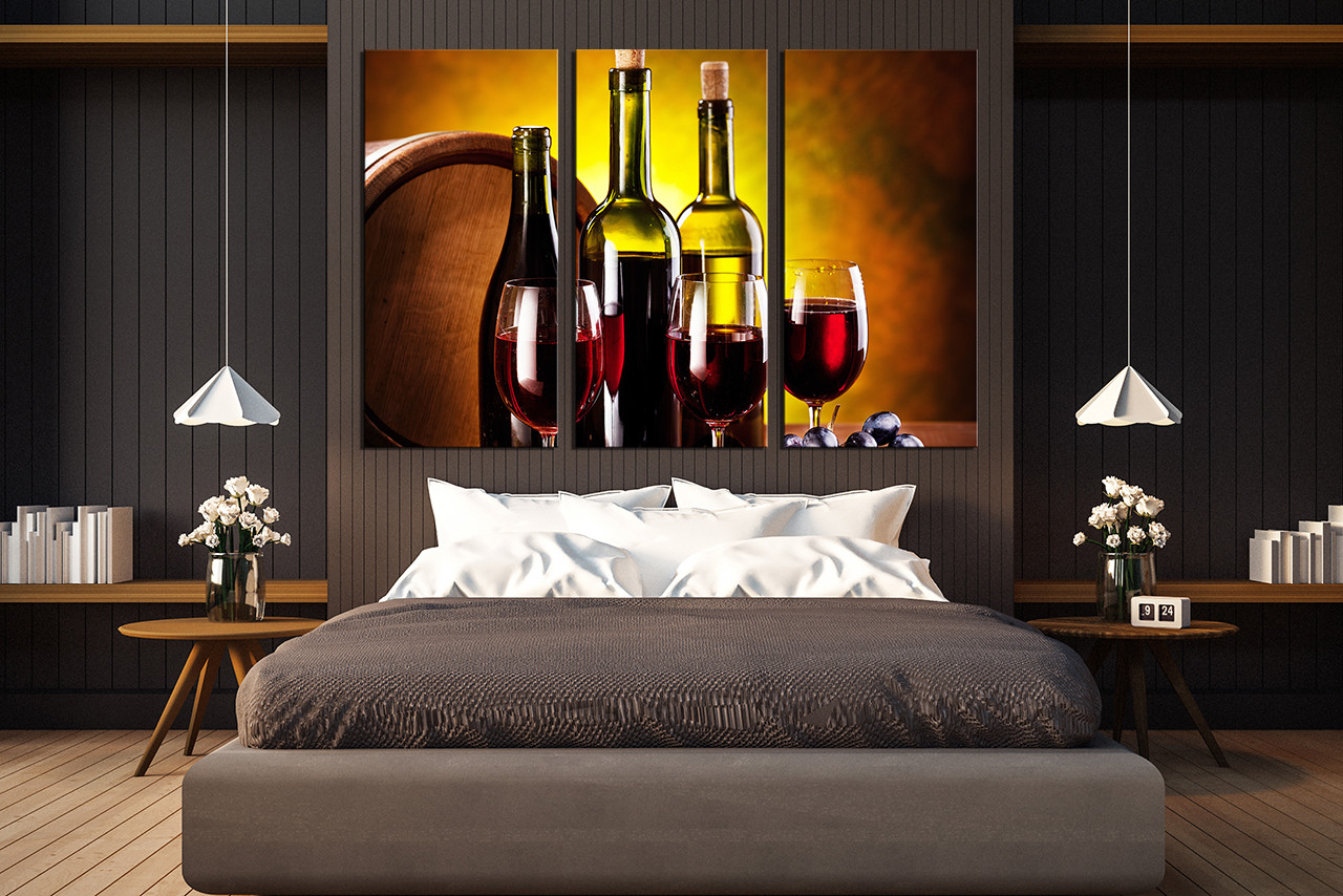 Wine Barrel Wall Decor 3 piece canvas wall art, wine huge canvas print, red canvas