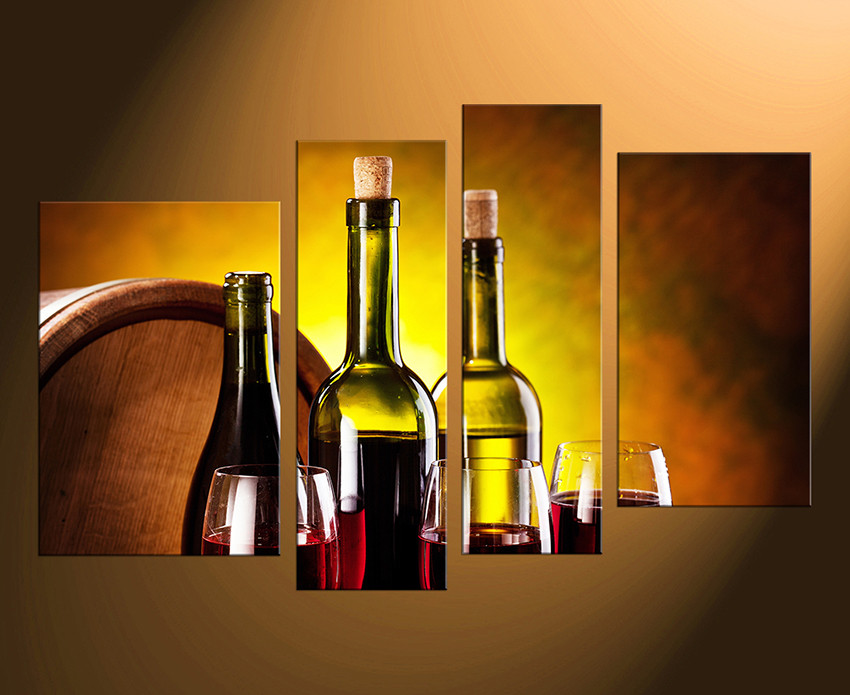 4 Piece Canvas Art Prints, Wine Bottles Canvas Photography, Red Wine ...