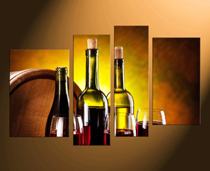 4 piece canvas wall art, home decor, wine multi panel art, kitchen canvas print, wall artwork