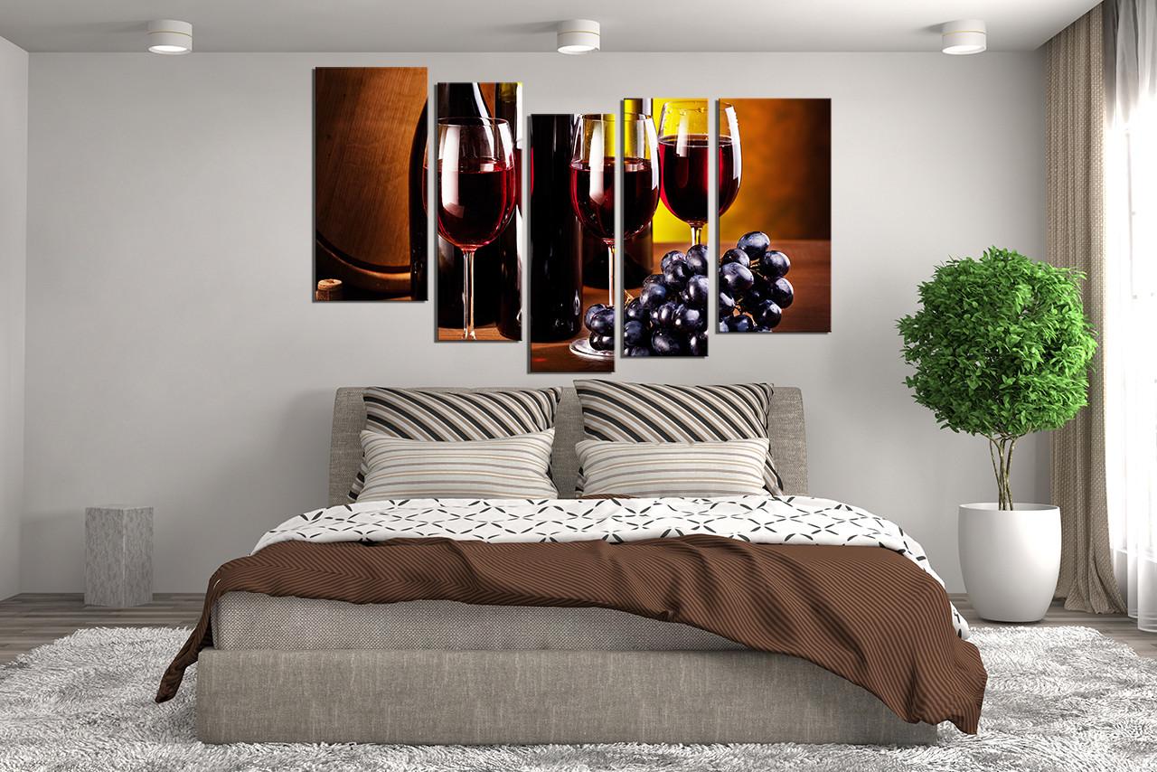 Wine Bottle Wall Art 5 piece huge canvas print, wine glass canvas wall art, wine bottle