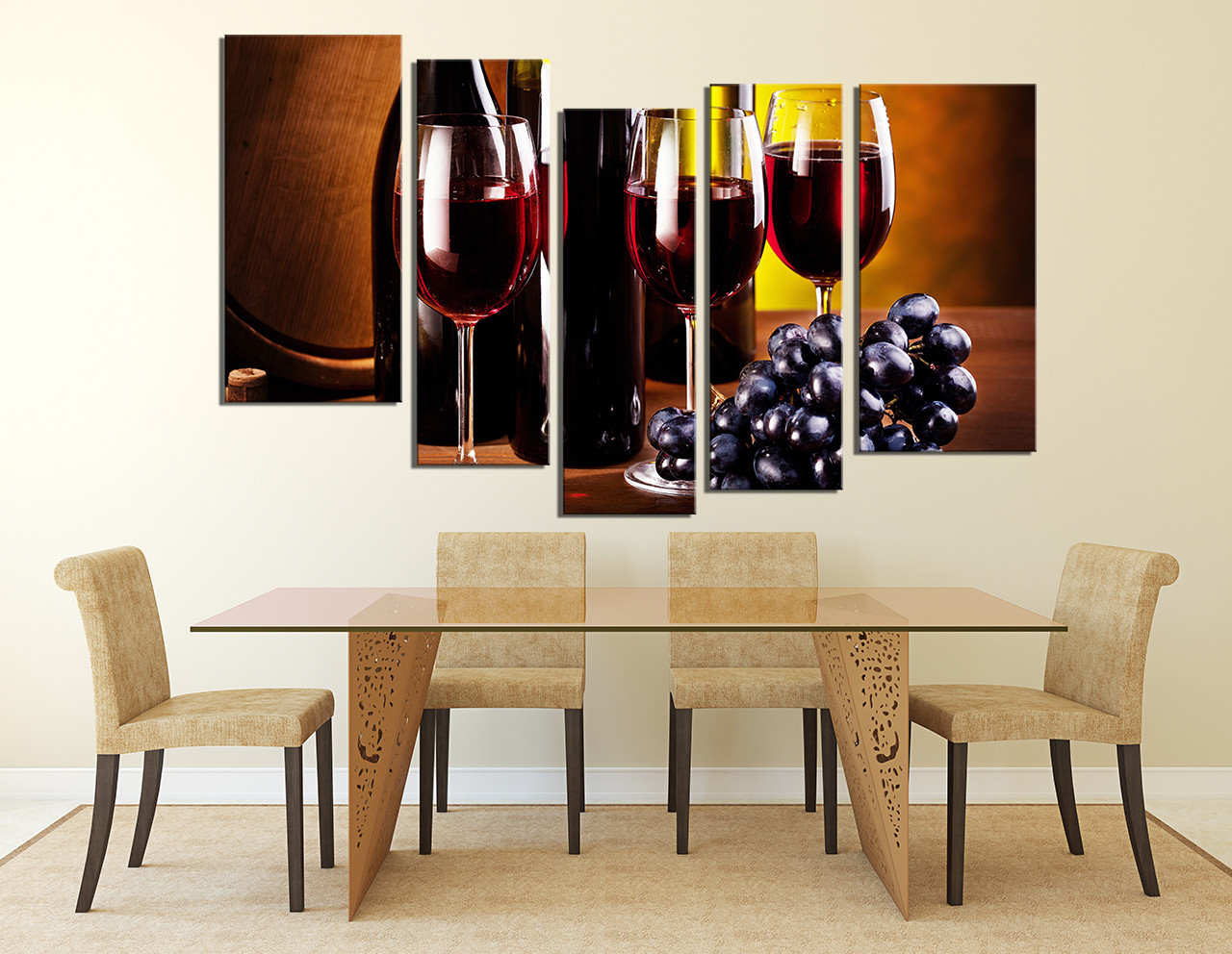 5 Piece Group Canvas, Dining Room Canvas Wall Art, Drink Artwork, Grapes  Large