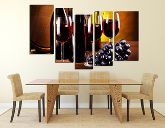 5 piece group canvas, dining room canvas wall art, drink artwork, grapes large pictures, wine canvas print