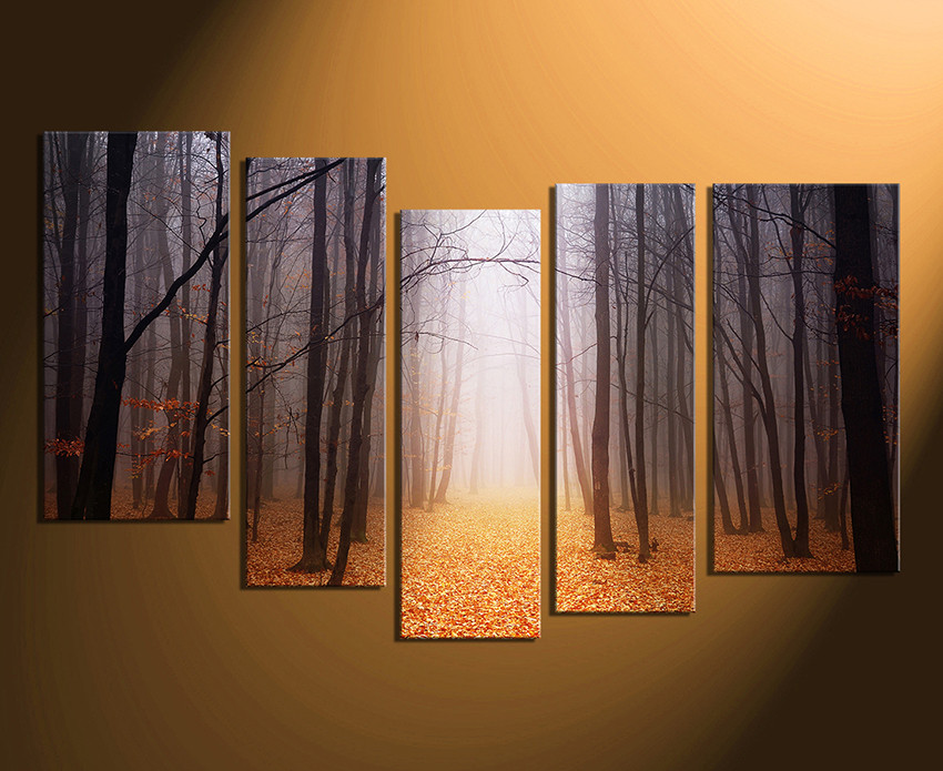 5 Piece Artwork, Scenery Large Canvas, Orange Canvas Wall Art ...