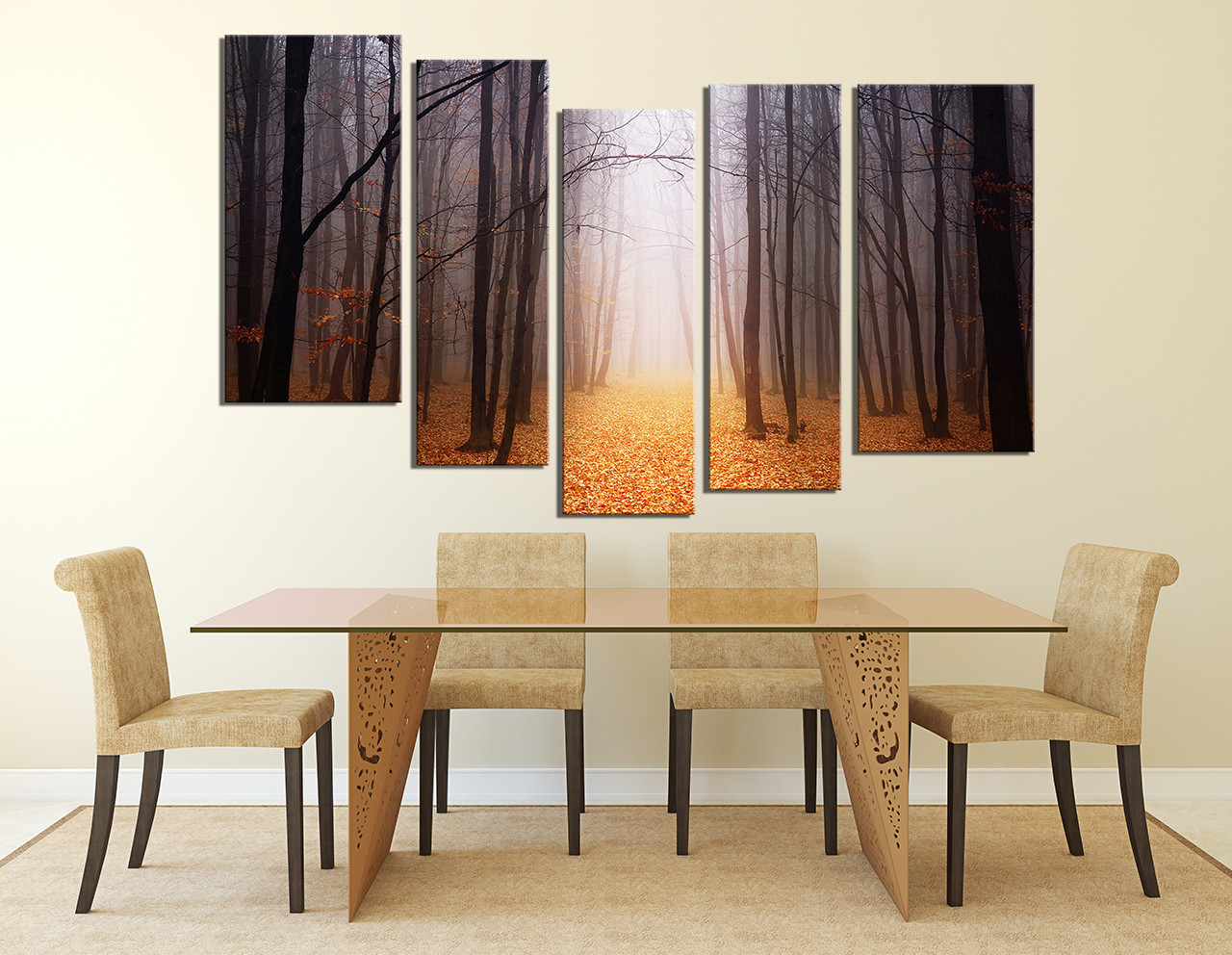 5 Piece Canvas Art Prints, Dining Room Large Canvas, Scenery Wall Art,  Orange