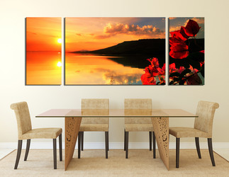 3 piece canvas print, dining room large canvas, orange ocean multi panel canvas, sunset canvas photography, floral huge canvas art