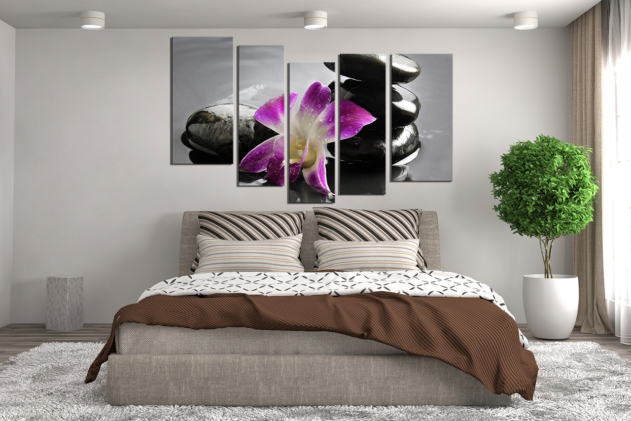 5 piece canvas wall art  floral wall art  bedroom wall decor  purple canvas. 5 Piece Photo Canvas  Purple Flower Multi Panel Art  Orchids