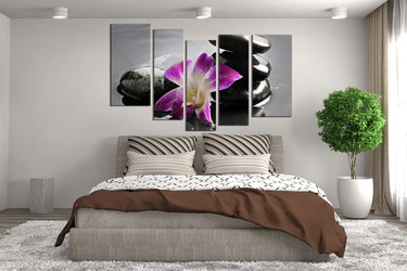5 piece canvas wall art, floral wall art, bedroom wall decor, purple canvas print, floral huge canvas print