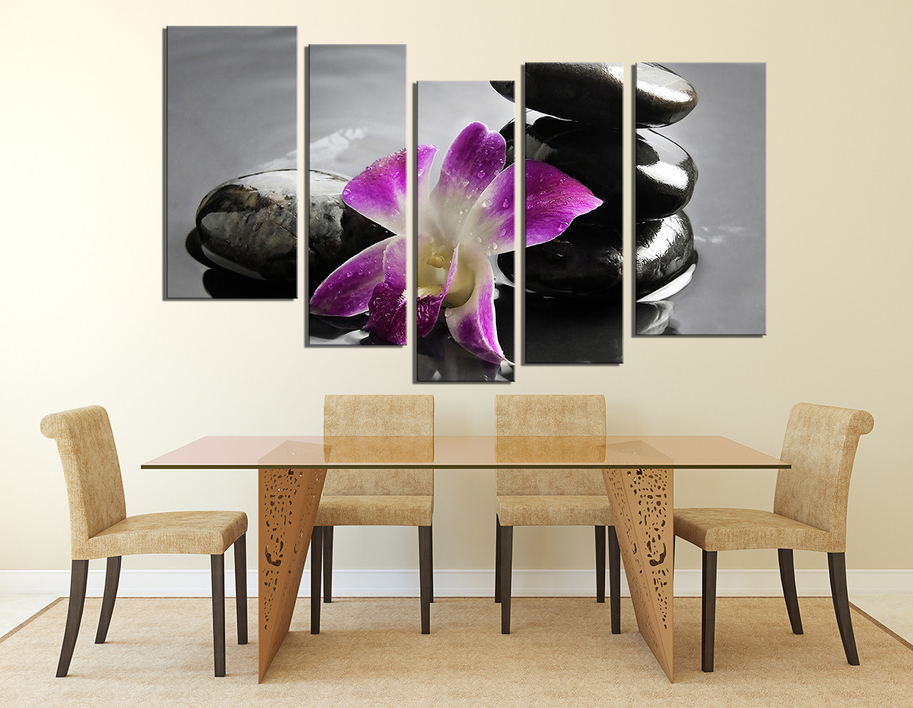 5 Piece Wall Art Dining Room Floral Decor Flower Canvas