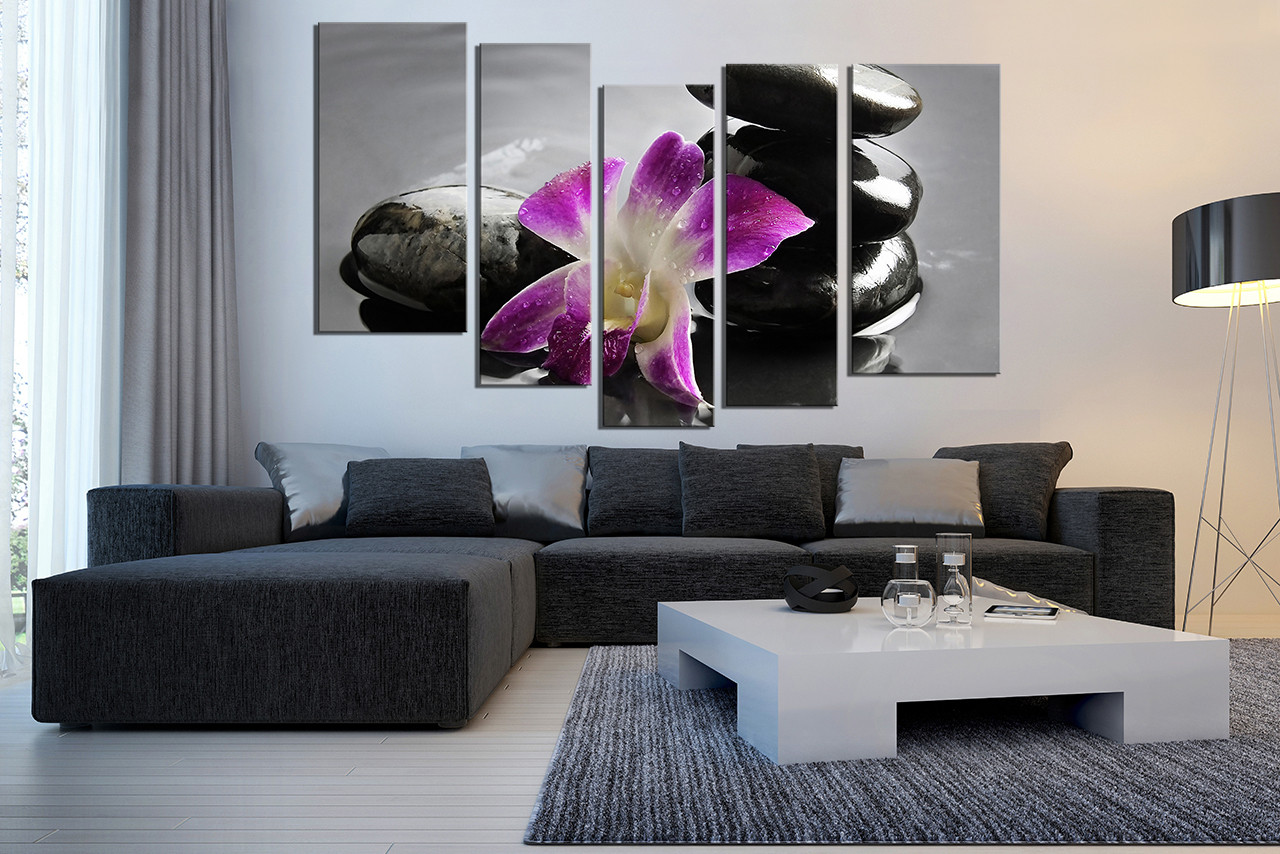5 Piece Multi Panel Art, Living Room Canvas Art Print, Floral Large  Pictures,