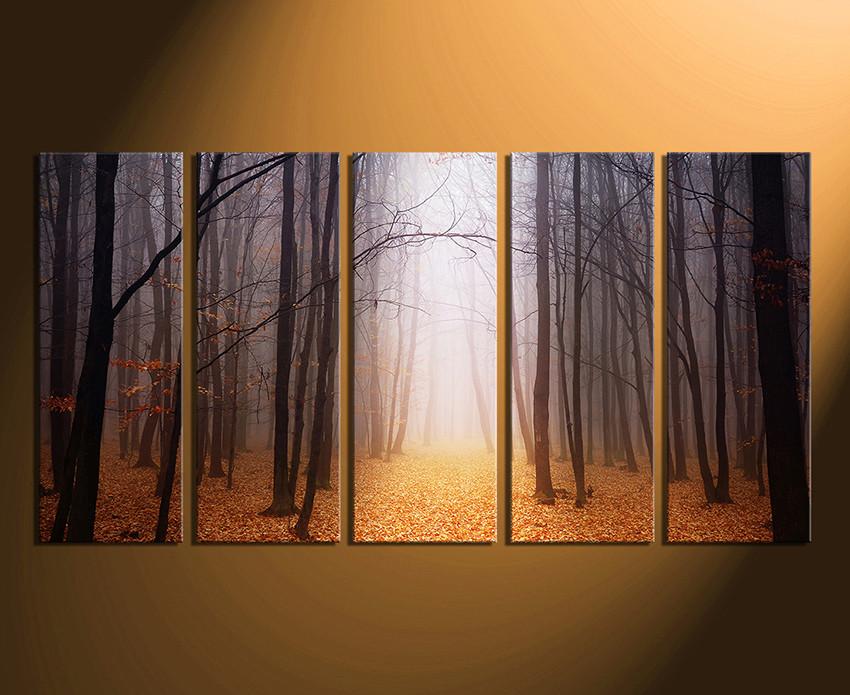 5 Piece Canvas Wall Art, Scenery Wall Decor, Orange Canvas Art ...