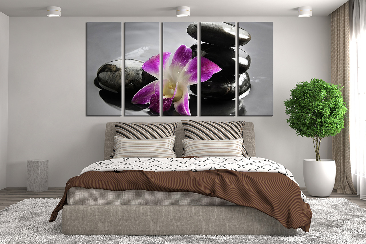 Floral Canvas Wall Art 5 piece group canvas, pebble wall decor, orchids canvas