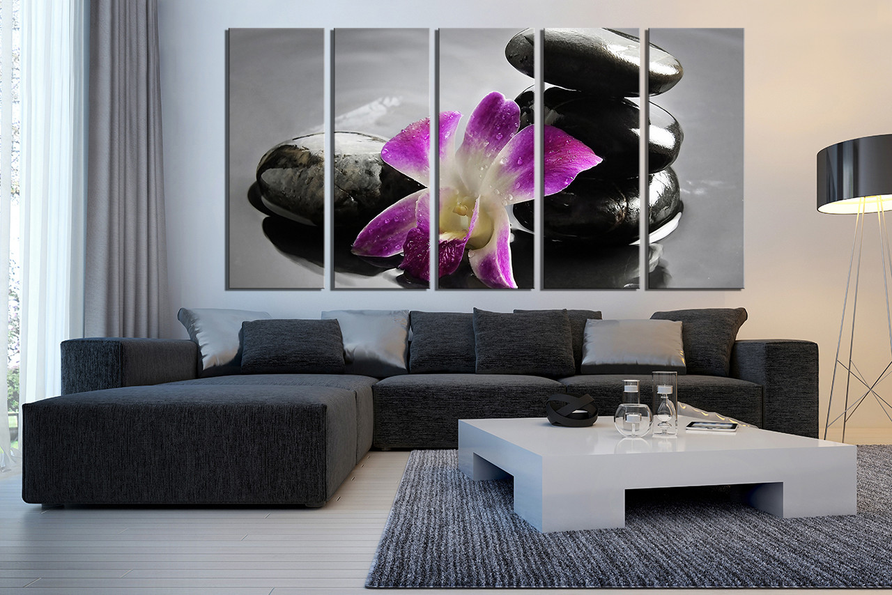 5 piece group canvas pebble wall decor orchids canvas 5 piece multi panel art living room canvas art print floral large pictures amipublicfo Image collections