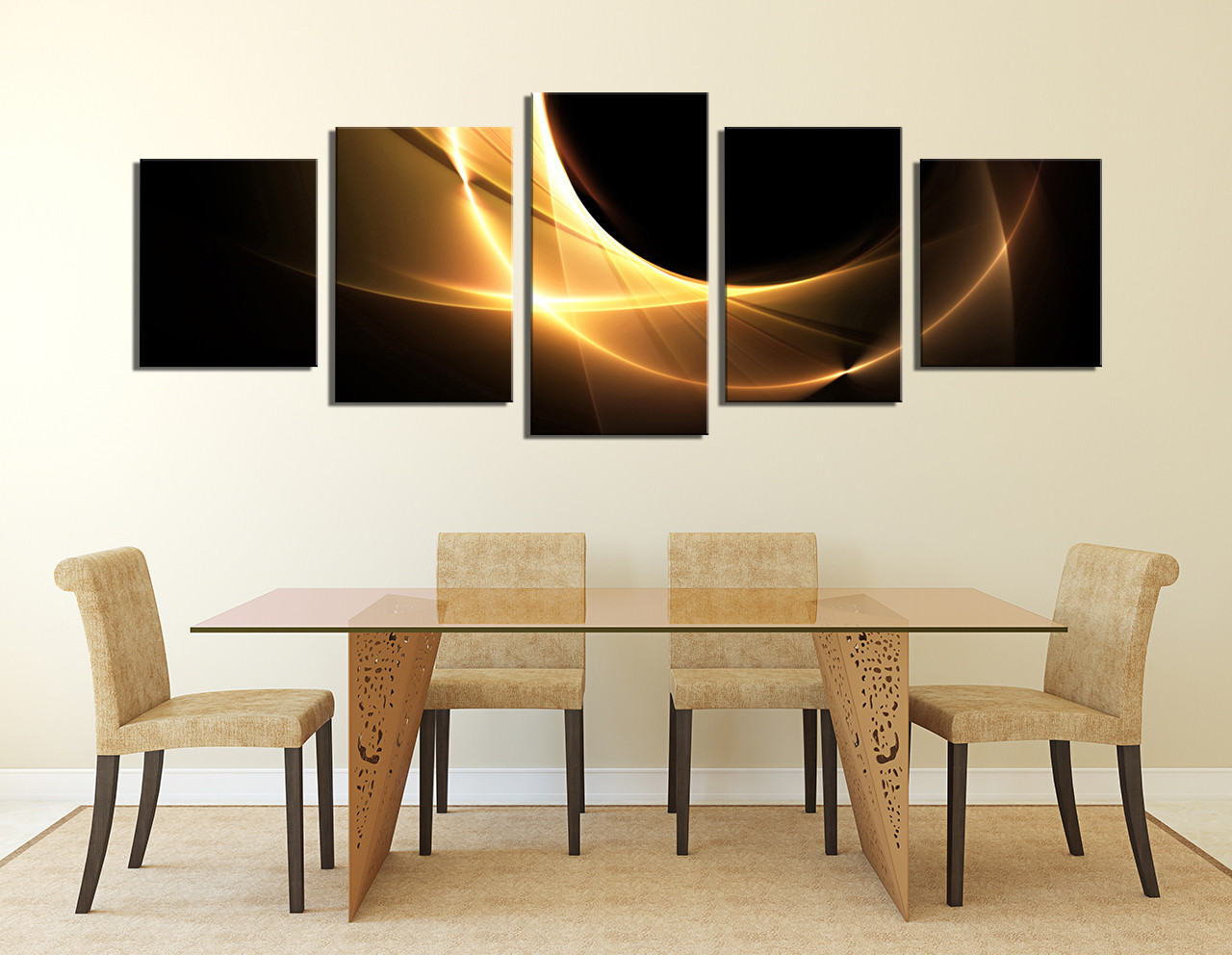 5 Piece Large Canvas Dining Room Group Abstract Photo Yellow