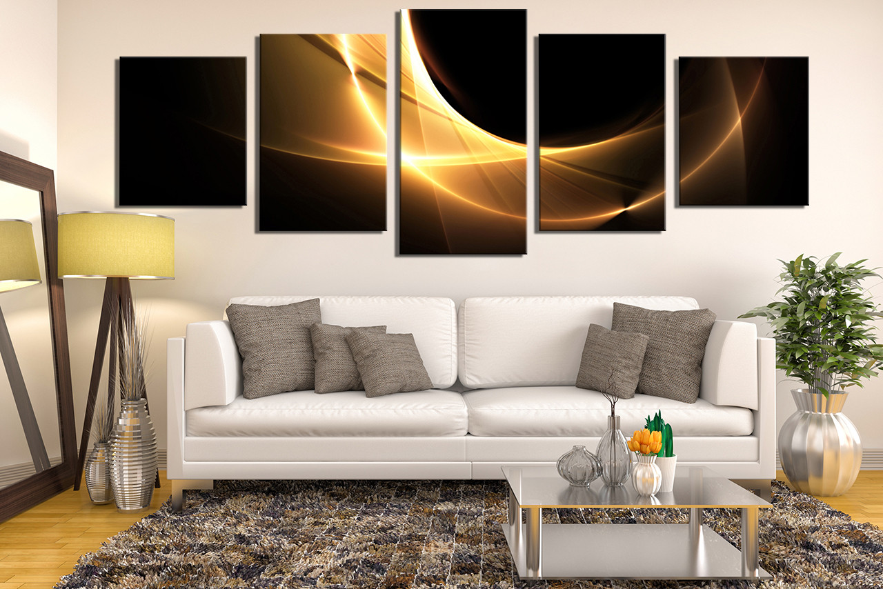 piece artwork modern canvas art prints yellow multi panel art  -  piece large pictures living room huge pictures modern canvas wall artabstract
