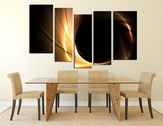 5 Piece Wall Art Dining Room Yellow Decor Modern Canvas