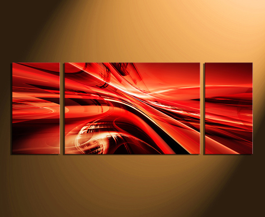 Red Canvas Wall Art 3 piece canvas wall art, modern multi panel canvas, red canvas