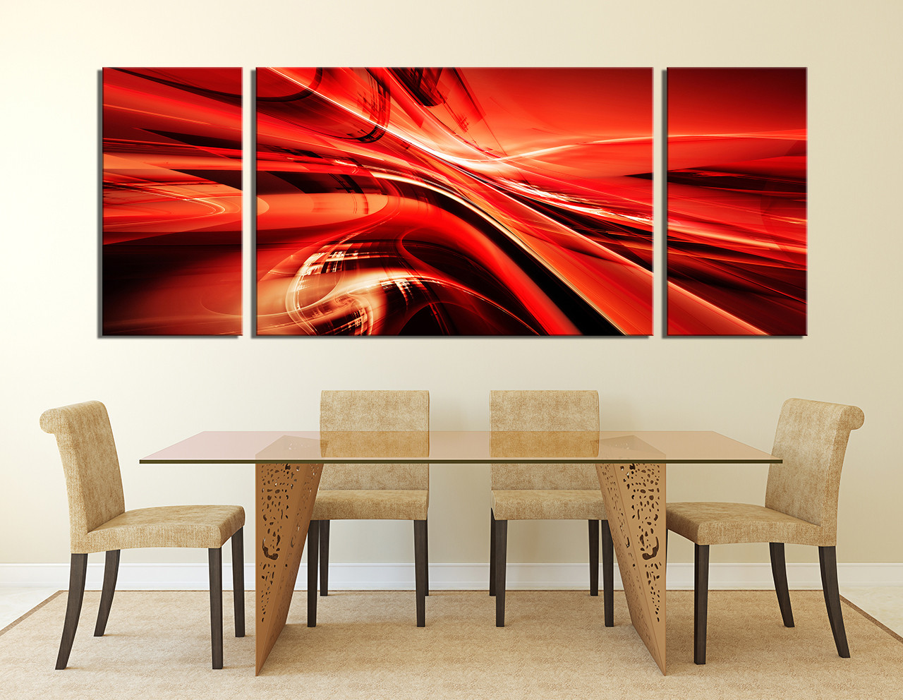 3 Piece Wall Art Dining Room Red Decor Modern Canvas