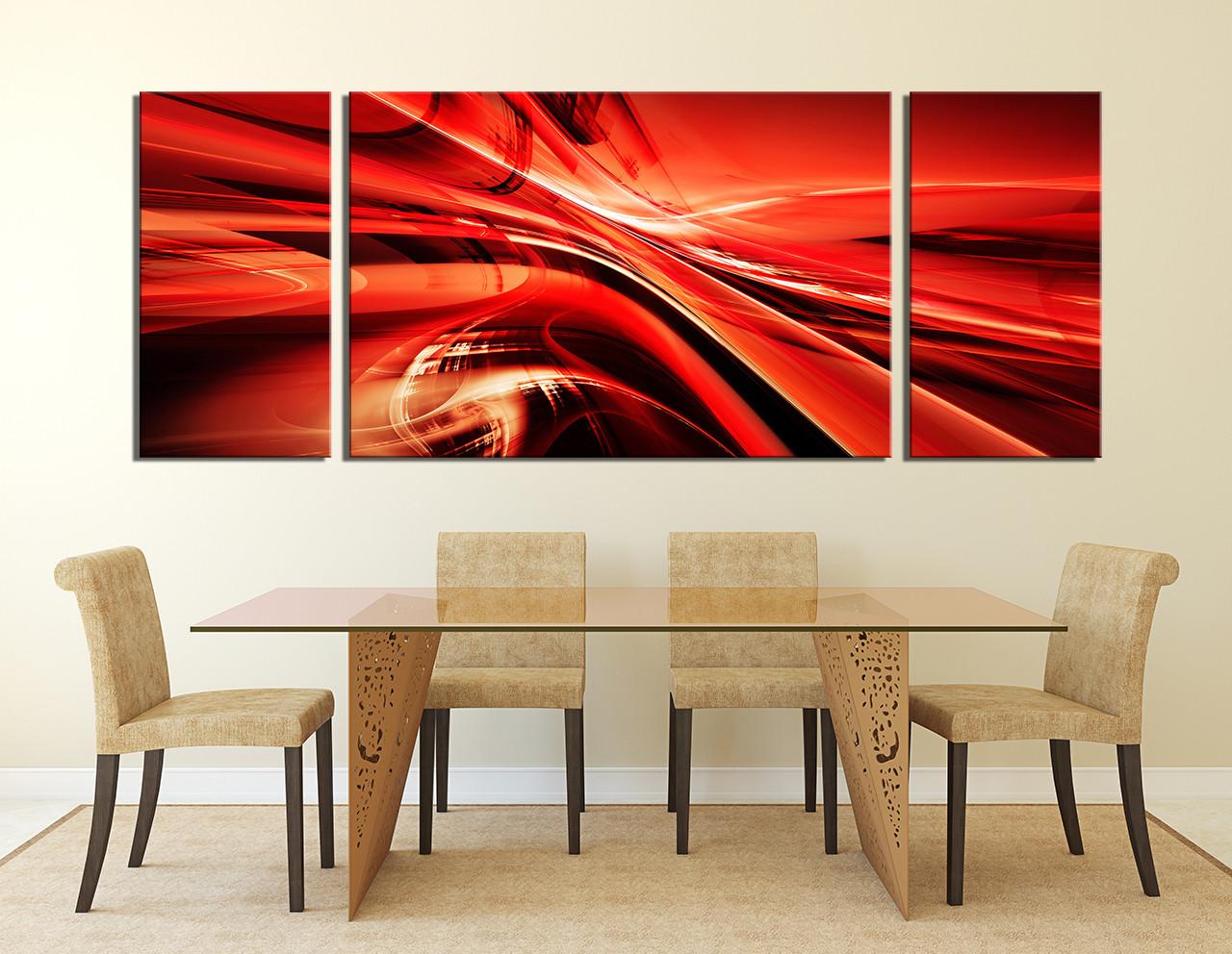 3 Piece Wall Art, Dining Room Wall Art, Red Wall Decor, Modern Canvas